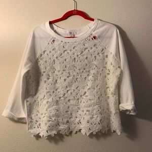 Amelia James White Lace Front Pullover - Large